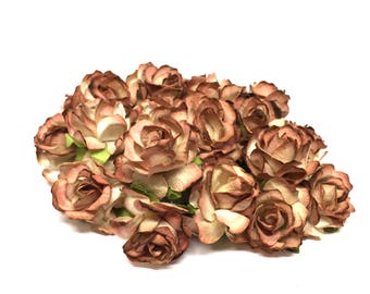 Brown Cream Classic Mulberry Paper Roses Cr025