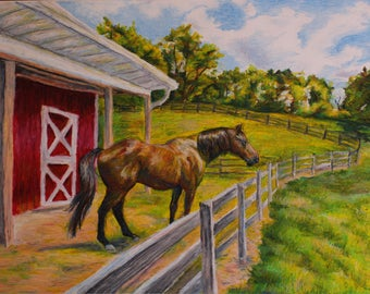 Horse and Red Barn