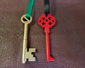 Oz and Mombi Keys - 3D print - painted with custom satin ribbon
