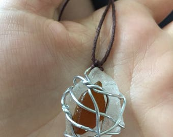 Wire Wrapped Sea Glass Stack Necklace
