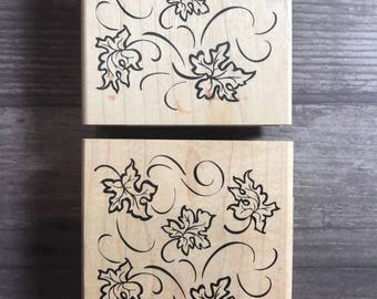 Leaves In The Wind Wooden Block Stamp