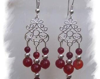 Earrings in 925 sterling silver and carnelian