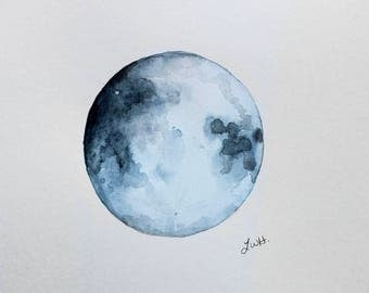 The Moon Watercolor Painting