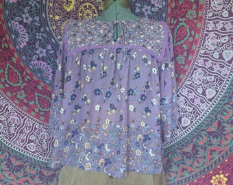 Flowy Floral Blouse 1970's themed.