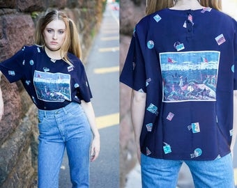 Vintage Laura & Jayne Petite Collection Shirt with Stamps and Painting Design. GGGV - 33