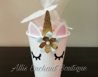 Unicorn Goodie Bag, Unicorn Candy Cups, Party Candy Bags, Unicorn Girl Birthday, Unicorn Tags