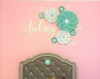 Teal Nursery large flowers wall, Large green paper flower girl's room wall decor.Large paper flowers wall decor, Girls room wall decor.
