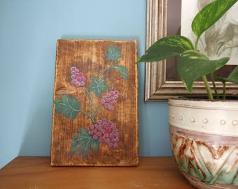 Purple Grape Vines Painting on wood handmade Original Painting