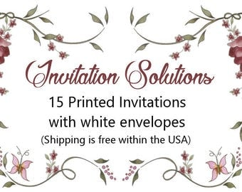 15 Printed Invitations with envelopes- add-on to a custom invitation