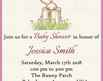 Bunny Baby Shower invitation/Girl Themed Easter Baby Shower or Birthday Part Invitation