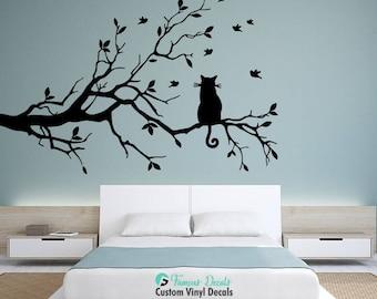 Cat On Tree Branch Birds Decal, Tree Branch Decal, Branch Birds Decal, Wall Decals, Cat Tree Decals, Cat Stickers, Tree Decals, Nature Decal