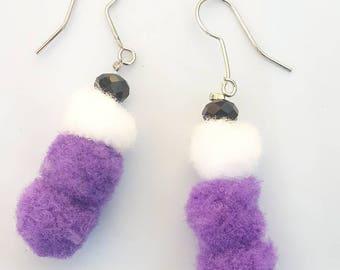 Purple and white pom pom drop earrings