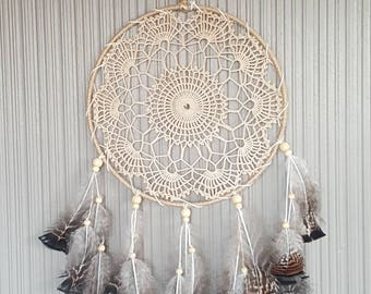 Medium Beige Crochet Doily Dreamcatcher 25x70cm
