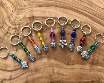 Knitting Beaded Stitch Markers Multi Color with Silver Tone Charms