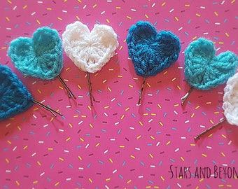 Crochet mini hearts Bobby pin, set of 6. Only 2.00 shipping!