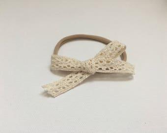 Crochet Lace Ribbon Headband