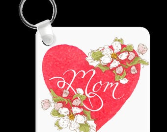 Mom Love Heart of Red Keychain