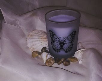 """Frosted Butterfly 3.5"""" 7oz Lavender Scented Candle"""