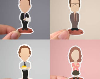 All Office Bobbleheads | The Office Sticker | Matte or Glossy Finish