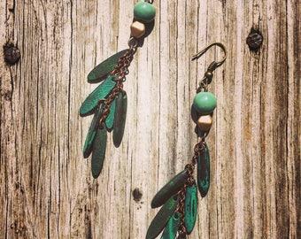 Bohemian style earrings, Green beads with bronze accents, hook earrings, dangle earrings on bronze chain