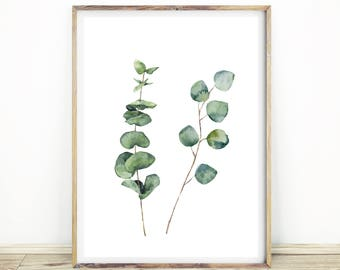 Eucalyptus Print, Botanical Wall Art, Leaf Art, Mint, Australian Prints,  Green