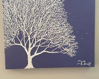 Tree Painting - Tree Art - White Tree - Purple - Nature Art - Summer - Leaves - Forest - Home Decor - Nursery Art - Textured Art - 16x20
