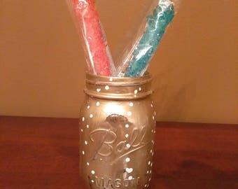 Painted Mason Jar - Champagne Bubbles Design
