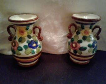 2 Floral Hand Painted in Italy Vases