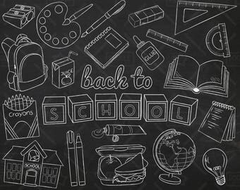 Chalkboard Back To School Vector Pack, Hand Drawn School Clipart, School Supplies, Globe, Lunchbox, Crayons, Sharpener Clipart,SVG, PNG file