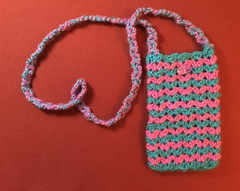 Knitted Pouch Drawstring, New/ Pink & Green