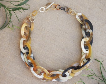 Natural Buffalo Horn Material Necklace 78 cm Chunky Short Chain H.N2.18.3