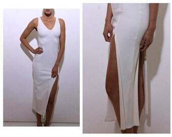 vintage 1980's 80's solid white body con maxi dress asymmetric thigh slit sleeveless club XS-S