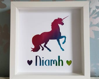 Unicorn frame - unicorn personalised frame - girls gift - handmade - birthday gift - Christmas gift - papercut unicorn frame - unicorn frame