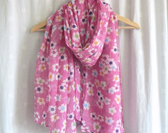 Ladies Women's Pink Flower Print Scarf Retro Pop Colors Wrap Shawl