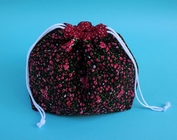 REVERSIBLE Large Drawstring Project Bag