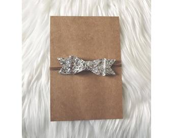 SILVER Glitter Bow // Nylon Headband, Baby Headband, Newborn Headband, Hair Bows, Hair Clips