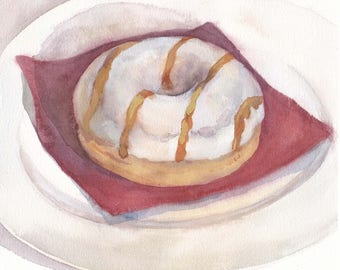 Original watercolor art / White glazed donut with caramel on red napkin / Donut art / Gift for sweet-tooth / Wall art decor / Realistic art