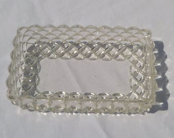 vintage rectangular candy/nut/relish glass dish with bubble diamond pattern