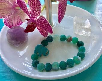 Sea green fire agate and turquoise elephant gemstone bracelet