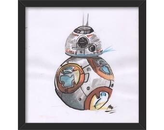 BB-8, original watercolour drawing, star wars, force awakens, A4