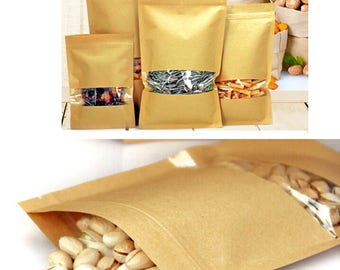 50pcs Large Window kraft paper zip lock Bag with zipper/clear window kraft paper food storage packaging Resealable Zip Lock Grip seal