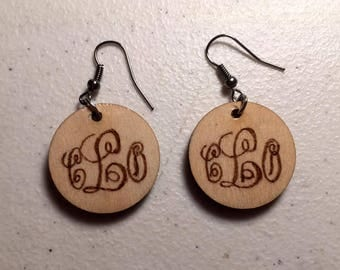 Custom Woodburned Earrings (you choose monogram or animal)