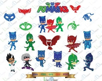 Pj Masks  SVG Pj Masks Birthday Shirt pj masks Invitation Card pj masks clipart decor Party svg eps png dxf digital cut files Cameo Cricut