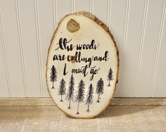 The Woods Are Calling Oval Bark Plaque