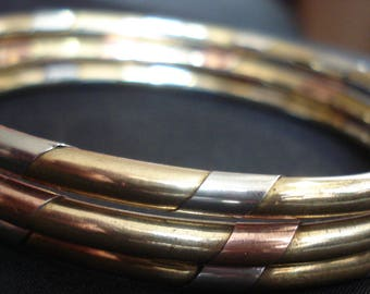 Set of Three Twisted Mixed Metal Bangles Brass Copper Silver Tone