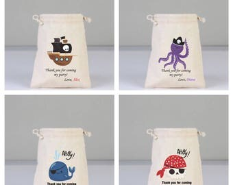 4 Pirate Personalized Thank You Bags, Skull, Blue Whale, Purple Octopus and Pirate Ship Bags, Birthday Party Bag, Cotton Bag Drawstring