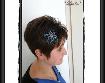 turquoise tsunami kanzashi flower hair clip / chocolate