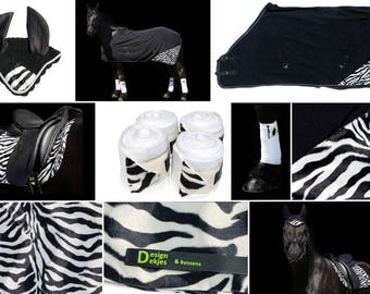 Zebra set, saddle-cloth, saddleblanket, blanket, fleeceblanket, horse