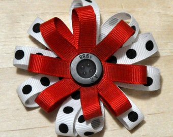 "3"" Red, White & Black Polka Dot Round Bow"