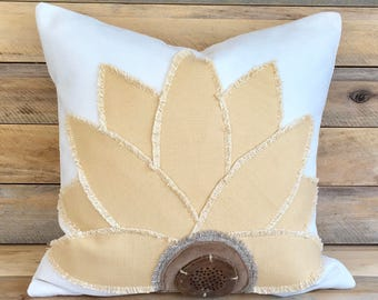 Sunflower pillow,Nature pillow cover,Sunny yellow pillow,Distressed wood